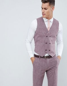 Read more about Asos design wedding skinny suit waistcoat in dark wine cross hatch - burgundy