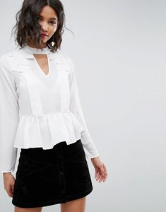 Read more about Asos plunge victoriana blouse with cotton lace detail - ivory
