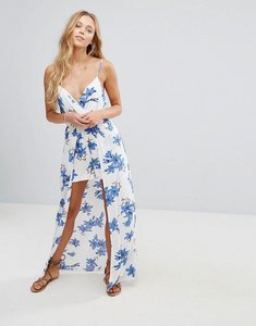 Read more about Parisian floral maxi dress with shorts - white blue