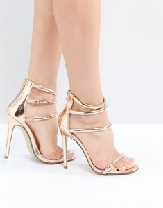 Read more about Missguided rose gold rounded four strap barely there heels - rose
