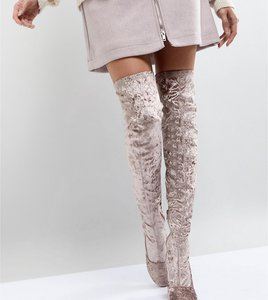 Read more about Asos katcher heeled over the knee boots - mink velvet