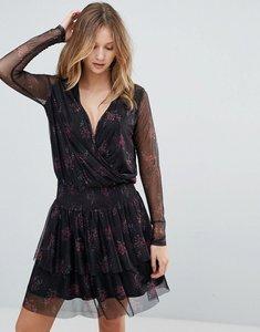 Read more about Gestuz mesha floral print mesh armed dress - pink black print