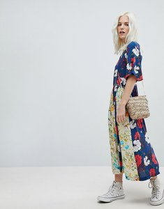 Read more about Trollied dolly boho pleated midi dress in mix and match floral print - navy blue