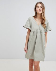 Read more about Asos design v front v back mini cotton smock dress - khaki