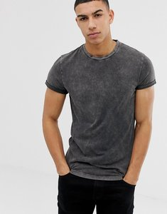 Read more about Asos design t-shirt with roll sleeve with acid wash in grey - grey