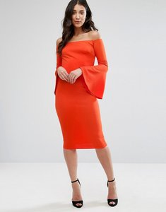 Read more about Club l bardot long sleeve flute detail dress - red orange
