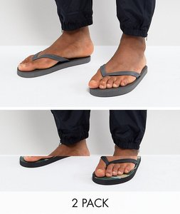 Read more about Asos flip flops 2 pack in camo and grey save - multi