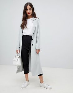 Read more about Y a s tie waist duster coat - grey