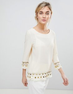 Read more about See u soon tunic top with coin embroidery - beige