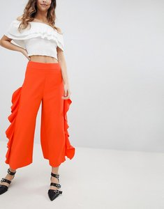 Read more about Miss selfridge ruffle wide leg crop trousers - tangerine