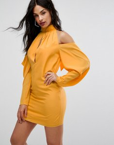 Read more about Aq aq mini dress with cold shoulder ruched detail - saffron