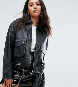 Read more about Missguided leather look trucker jacket - black