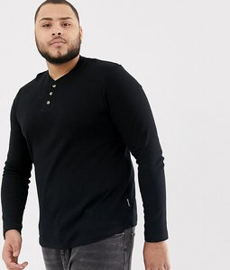 Read more about D-struct plus henley neck long sleeve top - black