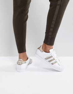 Read more about Adidas originals superstar trainers in white and rose gold - white