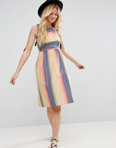 Read more about Asos washed stripe sundress with tassel detail - multi