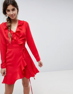 Read more about Asos ruffle wrap mini dress - red