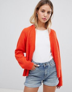Read more about Asos design eco cardigan in fluffy yarn - tomato