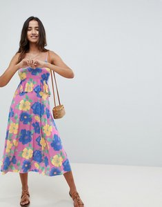 Read more about Asos design slinky midi sundress with waist ruffle in floral print - floral print