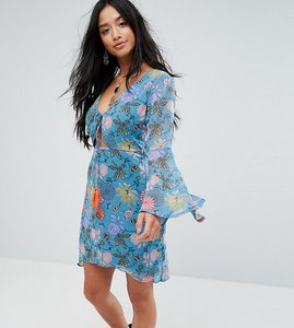 Read more about Glamorous petite long sleeve tea dress in illustrated floral - blue pink floral