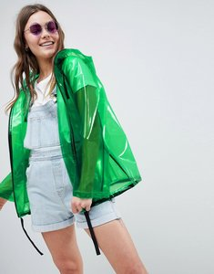 Read more about Asos design rain jacket with contrast binding - green