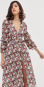 Read more about Dusty daze long sleeved midi dress with thigh split in floral