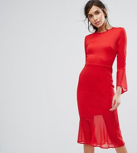 Read more about Silver bloom bodycon dress with fluted sleeve and chiffon hem - red