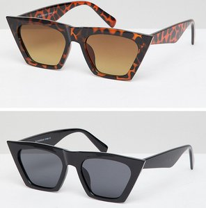 Read more about 7x 2 pack square frame sunglasses - black tort