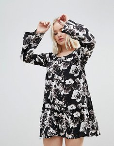 Read more about Rock religion floral splodge frill dress - black white