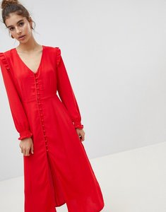 Read more about New look button front midi dress - red