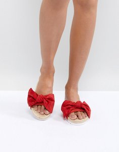 Read more about Glamorous red bow espadrille slide - red