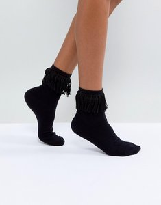 Read more about Asos tassel ankle sock in black - black
