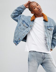 Read more about Asos oversized denim jacket with rust borg collar - blue wash