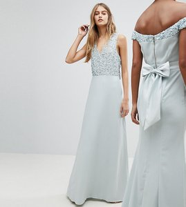 Read more about Maya sleeveless sequin bodice maxi dress with cutout and bow back detail - ice blue