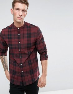 Read more about Asos design stretch slim check shirt with grandad collar in red - red