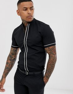 5f614fddea4cc Read more about Asos design slim shirt with manderin collar in black with  contrast piping