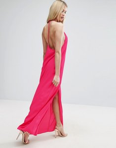 Read more about Asos halter strap back maxi dress - hot pink