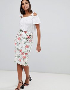 Read more about Missguided printed pencil skirt - white
