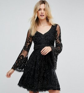 Read more about A star is born tall embellished mini skater dress with fluted sleeve - black