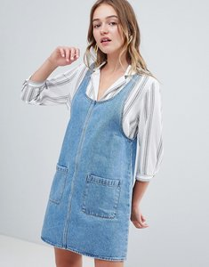 Read more about Monki denim pinny dress - blue