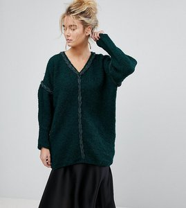 Read more about Oneon hand knitted v-neck oversized jumper - green