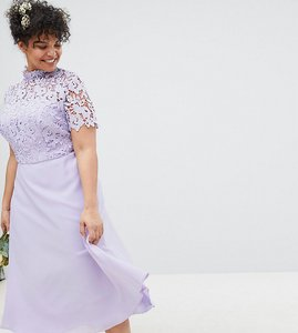 Read more about Chi chi london plus 2 in 1 high neck midi dress with crochet lace - lavender grey