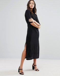 Read more about Warehouse 3 4 sleeve lace insert midi dress - black
