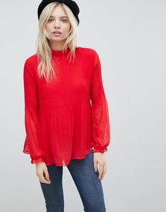 Read more about B young high neck blouse - crimson red