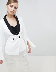 Read more about Lavish alice monochrome frill sleeve fitted blazer - white black