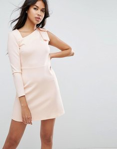 Read more about Asos mini scuba dress with one sleeve and bow shoulder detail