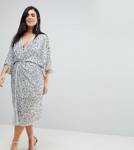 Read more about Asos curve embellished sequin kimono midi dress - ice grey