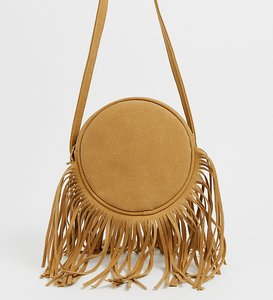 Read more about My accessories london camel suede round shoulder bag with long fringing