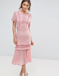 Read more about True decadence lace midi dress with frill detail - pink