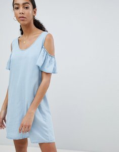 Read more about Noisy may cold shoulder denim shift mini dress
