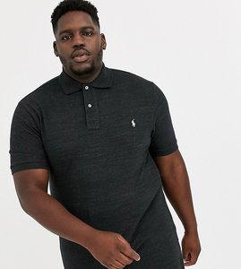 Read more about Polo ralph lauren big tall icon logo pique polo in black marl heather